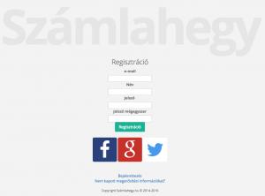 Számlahegy regisztráció képernyő