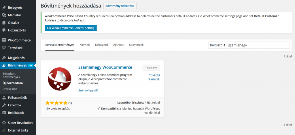 Woocommerce bővítmény - idegen nyelvű webshop számlázás